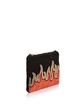 From St Xavier - Beaded Velvet Flames Zip Pouch