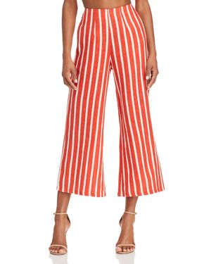 FAITHFULL THE BRAND Tomas Cropped Striped Linen Wide-Leg Pants in Brick