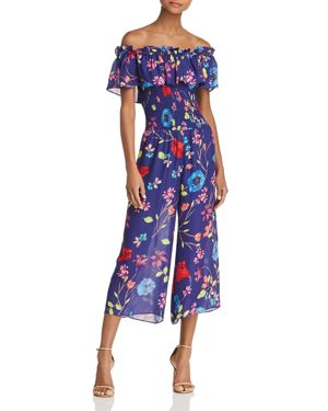 Janice Off-The-Shoulder Floral Wide-Leg Jumpsuit, Valencia Eclipse