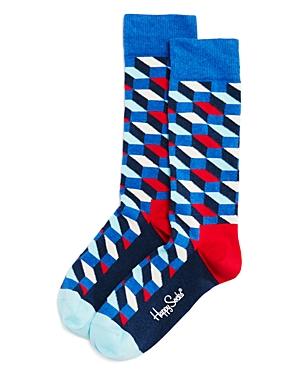 Happy Socks Faded Diamond-Pattern Socks