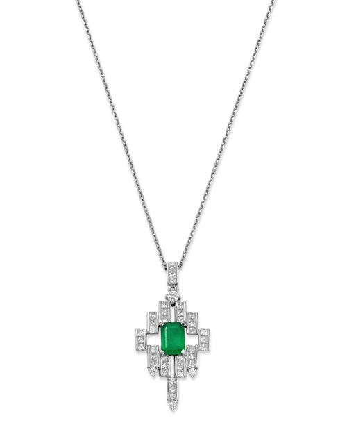 "Bloomingdale's - Emerald, Princess- & Round-Cut Diamond Deco Pendant Necklace in 14K White Gold, 16"" - 100% Exclusive"