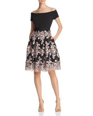 Off The Shoulder Party Dress, Black/ Blush