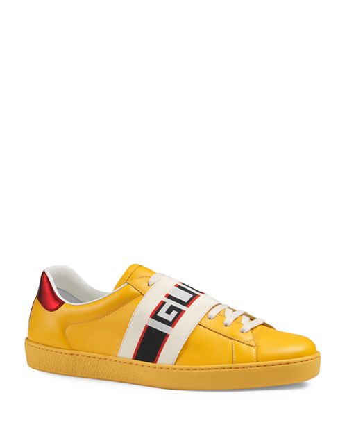 Gucci - Men's Jacquard Stripe Leather Lace Up Sneakers