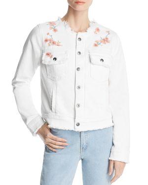 BILLY T Embroidered Denim Jacket in White
