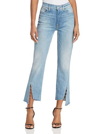 7 For All Mankind - Edie Ring-Detail Straight Jeans in Light Riviera