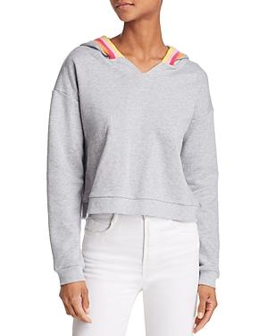 Honey Punch Rainbow-Stripe Hooded Sweatshirt