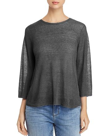 Eileen Fisher Petites - Semi-Sheer Knit Top