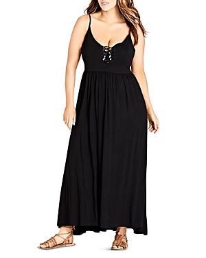 City Chic Plus Lace-Up Detail Maxi Dress