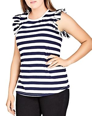City Chic Plus Ruffle Cap Sleeve Stripe Top