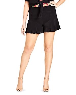 City Chic Plus Weekender Ruffle-Hem Shorts
