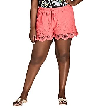 City Chic Plus Scalloped Eyelet Shorts