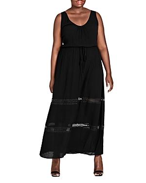 City Chic Plus Crochet Inset Maxi Dress