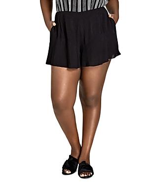 City Chic Plus Ruffle-Trim Shorts