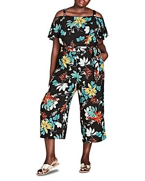 City Chic Plus Tropical Floral Cold-Shoulder Jumpsuit