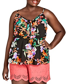 City Chic Plus - Molokai Floral-Print Top