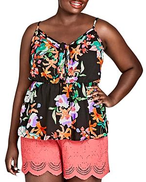 City Chic Plus Molokai Floral-Print Top
