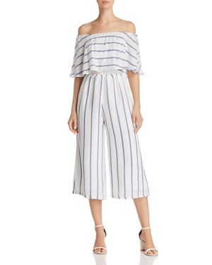 OLIVACEOUS OFF-THE-SHOULDER STRIPED CROPPED JUMPSUIT