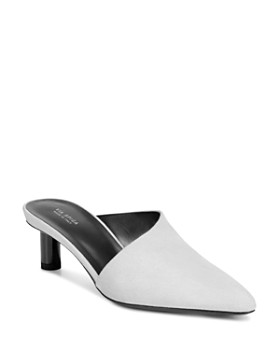 Via Spiga - Women's Freya Point-Toe Cylinder-Heel Porcelain Leather Slide Mules - 100% Exclusive