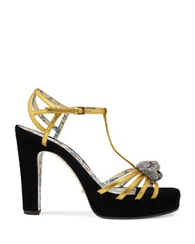 Gucci - Women's Elias Leather & Velvet T-Strap Platform Sandals