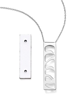 Les Georgettes - Perroquet Rectangle Pendant Necklace in Black/White, 16""