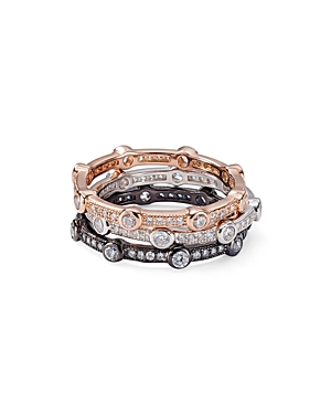 Aqua Stackable Contrast Color Pave Rings - 100% Exclusive