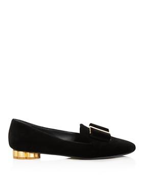 Salvatore Ferragamo - Women's Sarno Suede Flower Heel Loafers