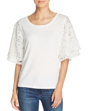 LOVE SCARLETT TIERED LACE-SLEEVE TOP
