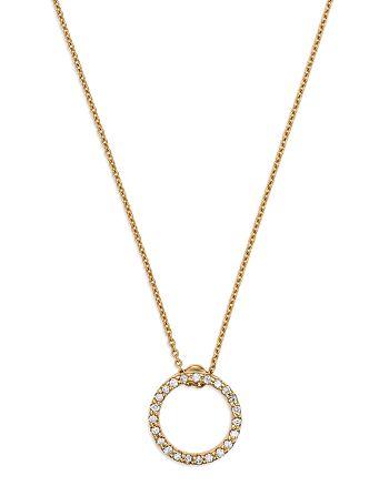 "Roberto Coin - 18K Yellow Gold Princess Tiny Treasures Extra Small Diamond Circle Pendant Necklace, 16"""