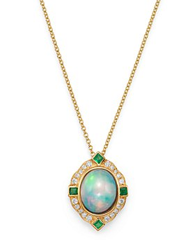 "Bloomingdale's - Ethiopian Opal, Emerald & Diamond Pendant Necklace in 14K Yellow Gold, 18"" - 100% Exclusive"
