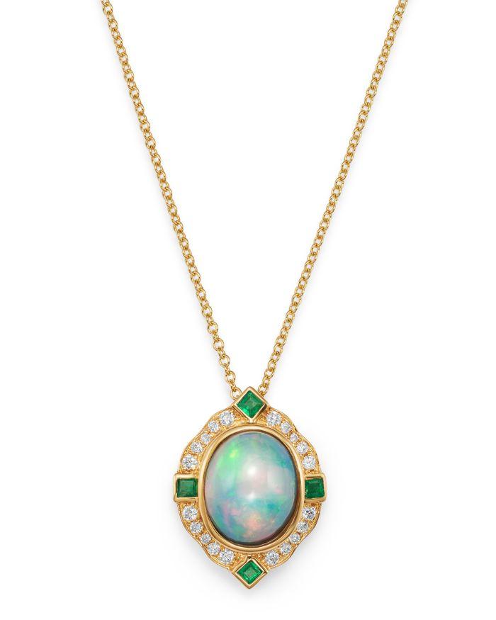 "Bloomingdale's Ethiopian Opal, Emerald & Diamond Pendant Necklace in 14K Yellow Gold, 18"" - 100% Exclusive     Bloomingdale's"