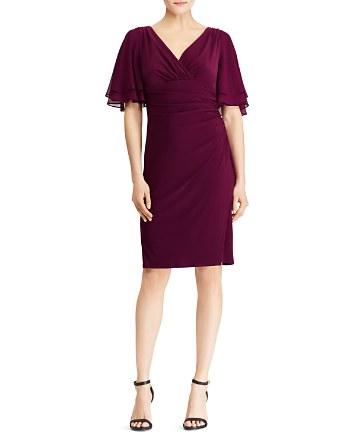 Lauren Ralph Lauren Shirred Flutter-Sleeve Dress