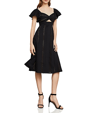 Bcbgmaxazria Eyelet Fit-And-Flare Midi Dress