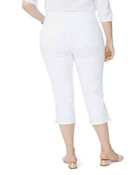 NYDJ Plus - Lace-Up Cuff Skinny Capri Jeans in Optic White