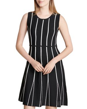 Calvin Klein Striped Mesh Godet Dress 2969519
