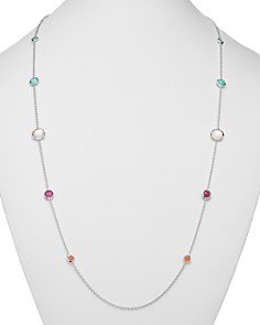 """IPPOLITA - Sterling Silver Rock Candy Turquoise Doublet, Mother-Of-Pearl Doublet & African Ruby Lollipop Station Necklace, 37"""""""