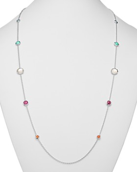 IPPOLITA - Sterling Silver Rock Candy Turquoise Doublet, Mother-Of-Pearl Doublet & African Ruby Lollipop Station Necklace, 37""