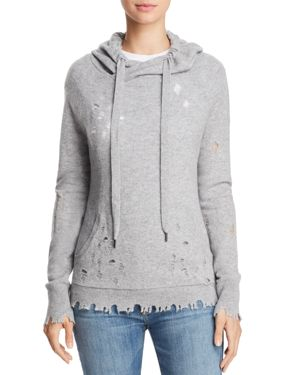 CASHMERE DISTRESSED CASHMERE HOODED SWEATSHIRT