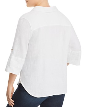 Foxcroft Plus - Tamara Gauze Button-Down Top
