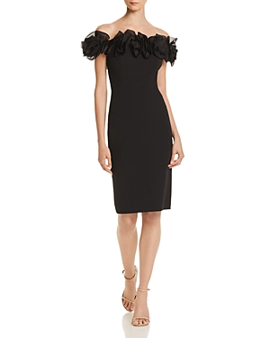 Aidan Mattox Off-The-Shoulder Rose Cocktail Dress In Black