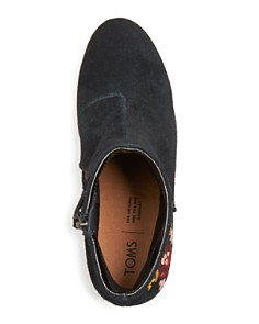 TOMS - Women's Evie Embroidered Suede Booties - 100% Exclusive