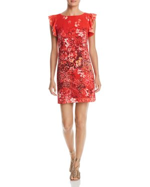 T TAHARI TINDRA PRINTED RUFFLE-TRIM DRESS