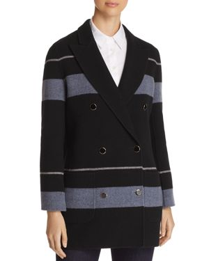 Striped Double Breasted Wool & Cashmere Peacoat, Black