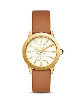 Tory Burch - Gigi Gold-Tone & Brown Leather Strap Logo Watch, 36mm