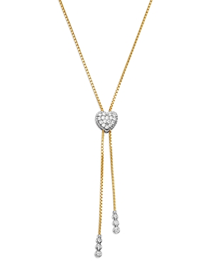 Bloomingdale's Diamond Heart Bolo Necklace in 14K White & Yellow Gold, 0.45 ct. t.w. - 100% Exclusiv
