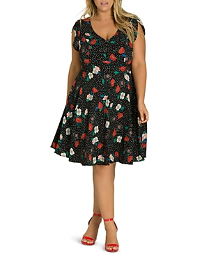 City Chic Plus Dotted Floral Dress
