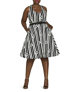 City Chic Plus Floral Stripe Belted Dress