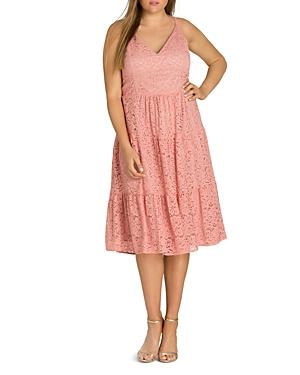 City Chic Plus Sweet Kiss Ruffled Lace Dress