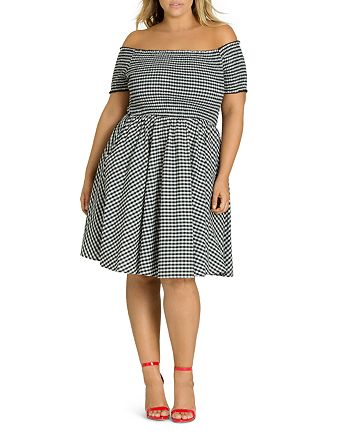 City Chic Plus - Smocked Gingham Off-the-Shoulder Dress