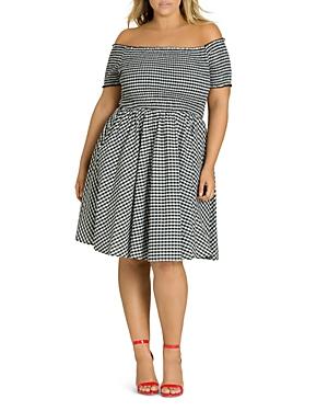 City Chic Plus Smocked Gingham Off-the-Shoulder Dress