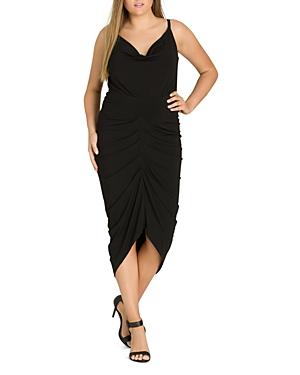 City Chic Plus Temptress Ruched Midi Dress